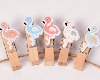Moodboard-Woody Flamingo clips (set of 10)/memo, mural, Pinboard, board, organizer, wall decor, to-do list, Notepad.
