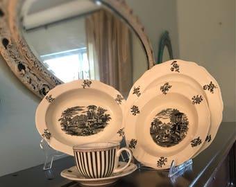 Vintage Wedgwood Black and White China Serving Bowl