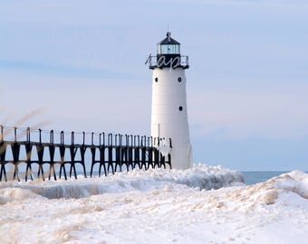 Winter Photo of Manistee Michigan Lighthouse