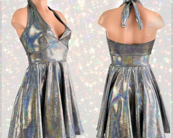 Silver Holographic Halter Tie Back Fit and Flare Skater Dress - 154219
