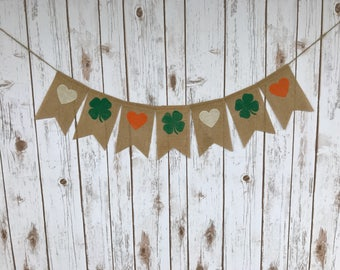 IRISH Pride Bunting, St. Patrick's Day Decoration, Burlap Banner, St Patties Day Garland, Saint Patrick's Day Bunting