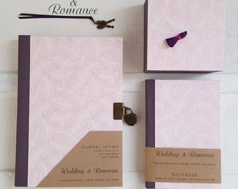 Notebook {feather} color pink, plum and white