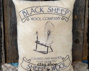 Primitive Sheeps Wool Feedsack Type Pillow or Panel #72