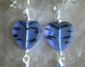 Blue Glass Hearts with Swavorski Crystal, Sterling Silver Plain Hook Wires
