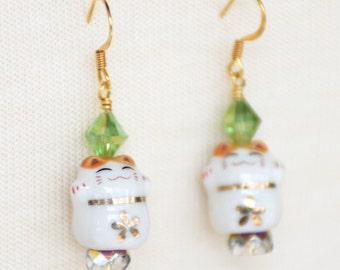 Maneki Neko Earrings, Lucky Cat Earrings, Beckoning Cat Charms, Fortune Cat Earrings, Cute Kitty Cat Lover Gift, Asian Cat Earrings, SRAJD