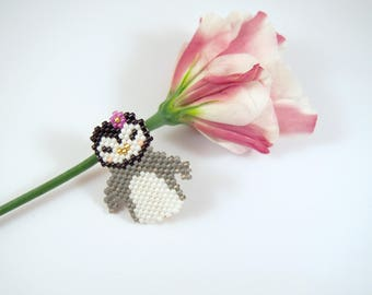 Broche Pingouin en perles miyuki