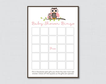 Owl Baby Shower Bingo Cards - Prefilled Bingo Cards AND Blank Cards - Digital Instant Download - Pink Owl Themed Baby Shower Bingo - 0006-P