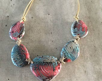 """Collier """"petits cailloux"""" - turquoise/rouge - nouvelle collection"""