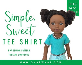 WellieWishers Doll Tee Shirt Sewing Pattern for 14.5 inch Doll Clothes Simple Sweet Tee Shirt Easy to Sew OhSewKat Sewing Pattern for dolls