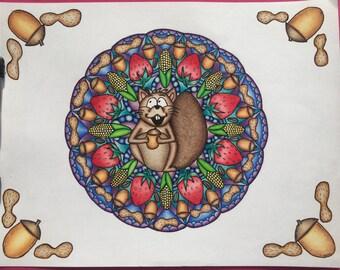 Squirrel Mandala Adult Coloring Page