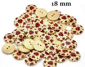 10 wooden ladybirds 18 mm buttons