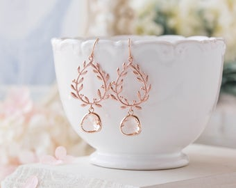 Rose Gold Laurel Wreath Earrings with Peach Champagne Glass Drops, Rose Gold Wedding Bridal Earrings, Bridesmaid Gift, Rose Gold Jewelry