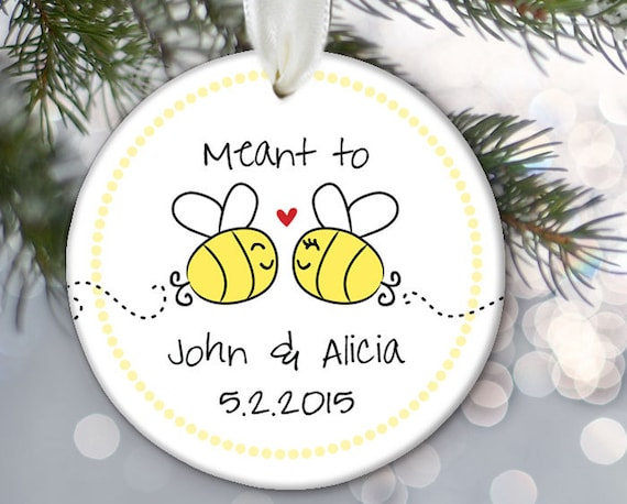 Christmas Ornament Wedding Gift: Meant To Bee Wedding Gift Personalized Christmas Ornament