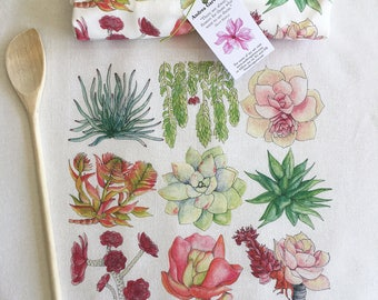 Succulent Flour Sack Tea Towel. Great Cook's Gift. Gourmet quality, white cotton. Affordable Hostess or Kitchen Gift.