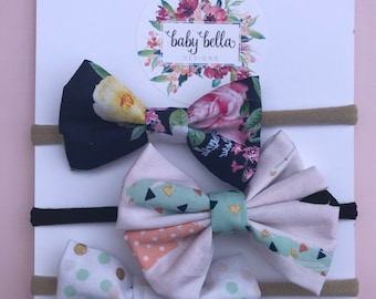 Navy Floral, Pastel Polka, Pastel Feather Nylon Headband