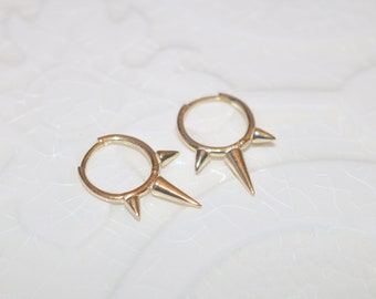2 FINISHES Available - Triple Spike Hoops in Vermeil Silver