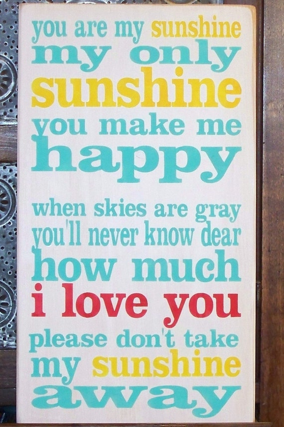 YOU are my SUNSHINE -I Love You in Red -  Hand-painted on wood - Typography - Subway art - wooden sign - red - yellow - turquoise