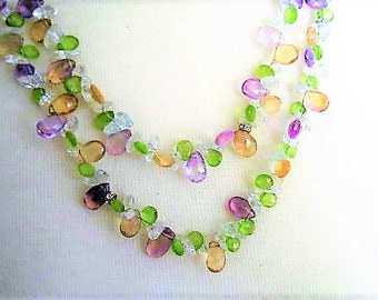 Crystal Necklace, Easter Egg Pastel Colors, Continuous Strand, 40 inch Flapper Style
