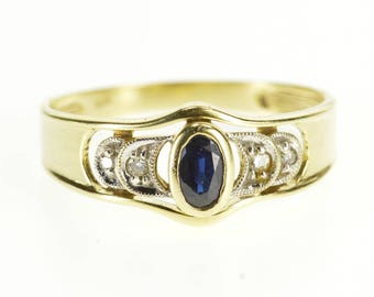 14k Oval Sapphire Diamond Accented Crescent Moon Ring Gold