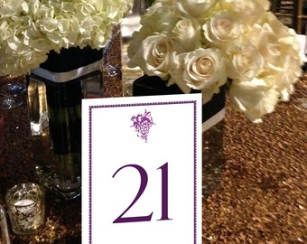 Winery Table Numbers, Grapes Table Numbers, Napa Wedding Table Numbers, Wine Country Wedding Table Numbers 1 - 50 Instant Download