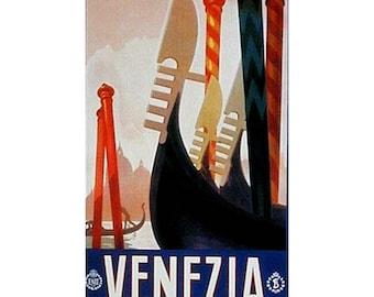 VENICE 1-Handmade Leather Postcard / Note Card / Fridge Magnet - Travel Art