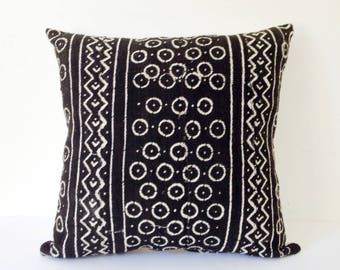 Mudcloth Pillow Cushion Cover Black African Mali Mud Cloth Bogolan