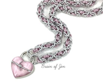 BDSM Slave Collar with Pink Heart and Barbed Wire Lock Submissive Day Collar