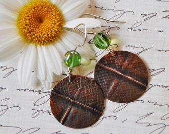 Copper and green Czech glass bead earrings, hammered metal earrings, rustic earrings, artisan earrings