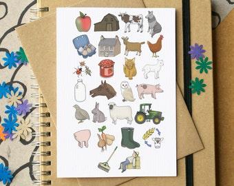 Farm Alphabet Card - farm birthday card - farm greetings card - Alphabet of Farms - card for farm lover - card for farmer - farming card