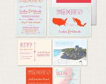 Mexico Riviera Maya Destination wedding invitation Wedding Coral Blue -Spanish English illustrated wedding invitation Deposit Payment