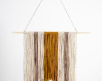 Neutral Asymmetrical Rustic Yarn Wall Hanging