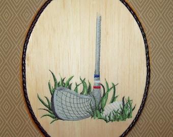 Golf Wall Art, Embroidery on Wood, Golf Decor, Den Wall Art, Office Decor, Man Cave Decor, Golf Lover Gift, Men's Golf Gift, Golfing Gift