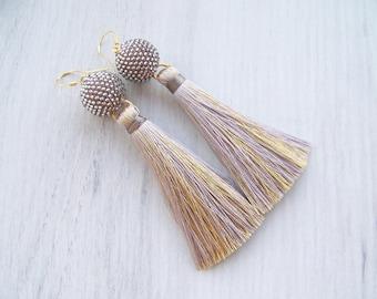 Luxury silver with gold thread tassel earrings - Grey Silk Tassel earrings - long tassle earrings - Party Lightweight Statement earrings