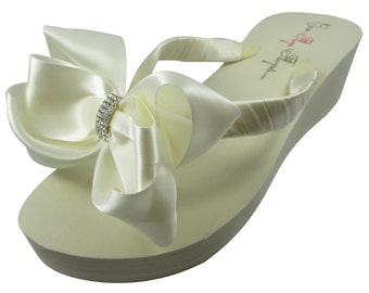 Wedding Bridal Flip Flops, Emerald Cut Wedding Flip Flops with satin bows in white/ ivory or choose colors