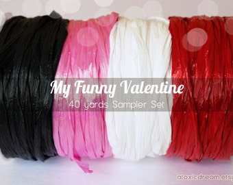 Valentines Raffia Ribbon Set - 40 yards - Red White Pink Black