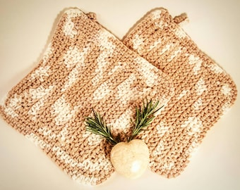 Crocheted Pot Holders - Set of 2 - Free Shipping (Double thick, 100% Cotton)