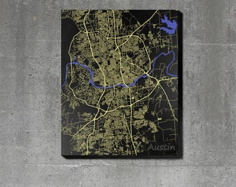 Streets of Austin - Print Poster or Canvas - Art Map of the City of Austin TX