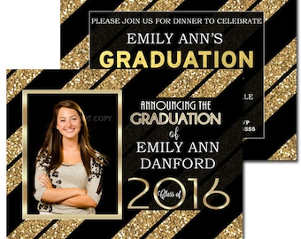 Black Gold Graduation Party Invitation, Graduation Photo Cards Announcements Black and Gold, Printable or Printed, 2 sides Photo Grad Cards