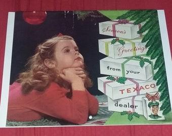 Vintage 60's Old Advertising Calendar Texaco Christmas Gas Station Mid Century Modern