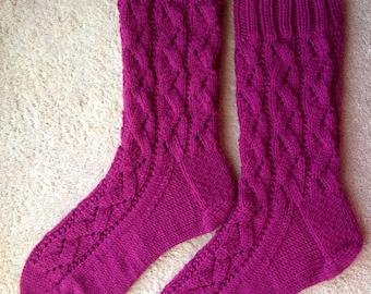 Tricotés à la main Womens Cachemire laine mélangée chaussettes (S-254)