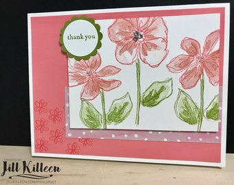 Pink Flower Thank You cards 4 pack thank you card pack, feminine thank you card, floral thank you card