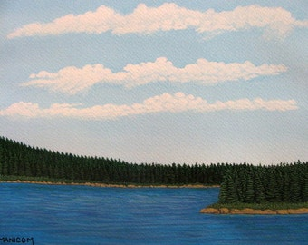 8X10 Summer Scotian Lake Original Watercolour-Gouache Painting - Blue Water, Sky / Clouds / Green Forest. Realism SFA (Small Format Art)