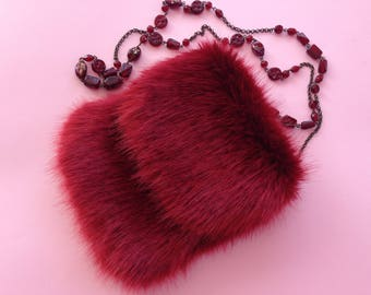 Faux Fur Purse in Dark Red Color / Birthday's Gift Idea / Wedding accsesories / Chic bag / Easter / Original Gift Idea