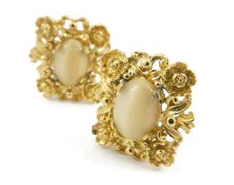 Vintage, Judy Lee Earrings, Glass Cabs, Floral Frame, Gold Tone, Signed, Clip Ons