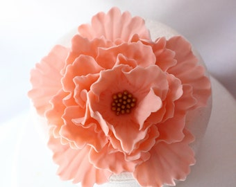 peach fondant flowers, XL Vintage peach gold Peony Inspired, edible flowers, edible cake topper, decorations vintage birthday wedding