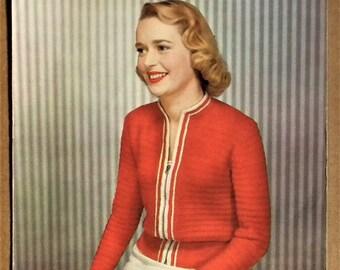 "Original vintage 1940s 1950s knitting pattern women's cardigan windcheater 40s 50s colour pattern - 36"" 38"" 40"" bust M L - Lavenda No 441 UK"