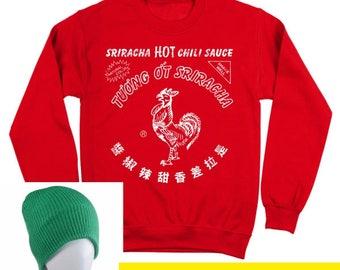 Sriracha Bottle Costume With Hat Funny Humor Hot Sauce Crewneck Sweatshirt DT0058