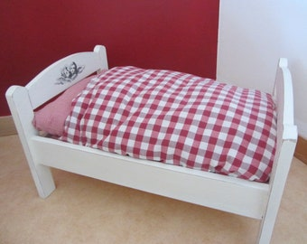 Old painted wood doll bed