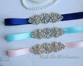 Mint Gold Sash, Navy Gold Sash, Peach Gold Sash, Gold belt, gold rhinestone sash, wedding Sash Belt, bridesmaid sash/belt, flower girl sash