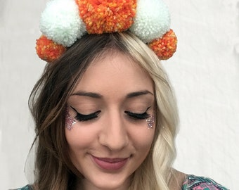 Fire Crown- Reversible Pompom Headband